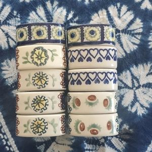 Polish Pottery Napkin Rings